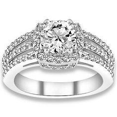0.92 ctw 14k WG Natural I-J Color, VS - SI  Clarity, Accent Diamonds Engagement Ring