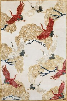 Shoot location needed for our new collection of chinoiserie rugs - Wendy Morrison Design Japanese Patterns, Japanese Prints, Japan Design, Sketch Painting, Japan Art, Chinese Art, Chinoiserie, Crane, Rugs On Carpet