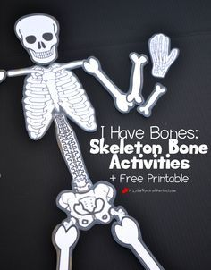 We have been having fun learning about bones using our free printable skeleton, building with playdough, making a craft, and singing. Now when the kids see skeletons this Halloween they aren't scared because they know we all have a skeleton! Learning About Bones Pin me please!  We have been singing and dancing to the …
