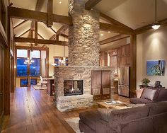 Nothing better than a classic stone fireplace.