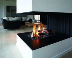 Wood fireplace / original design / contemporary / open hearth Universal MF W EXT Metalfire Open Fireplace, Corner Fireplaces, Fireplace Modern, Hearth, Home Interior Design, Foyer, Kitchen Remodel, Designer, Modern Design
