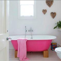 Lovely pink tub. Find us on:  www.lazienkizpomyslem.pl & www.facebook.com/lazienkizpomyslem Różowa wanna. bath, bathroom, bath, interior, idea, decoration, bathroom romance, relaxation, love, sexy atmosphere