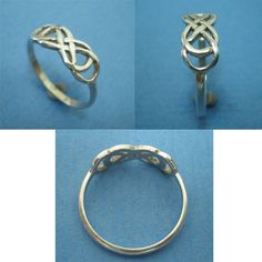 Celtic Knot Double Infinity X Infinity Ring Silver by yhtanaff, $29.00
