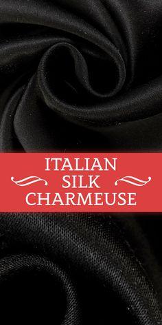 Double Face Italian Silk Charmeuse in Black (Made in Italy - 100% Silk)