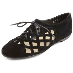 Sueded Laser-Cut Oxford Flat ($29) ❤ liked on Polyvore