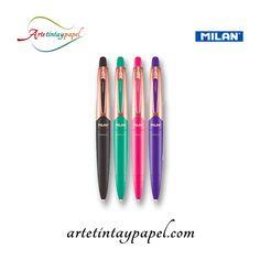 Bolígrafo Milan Cooper Capsul Ballpen, tinta en color azul. Diseño llamativo con un acabado en color cobre, esta hecho con plástico suave que facilita el agarrado y una mayor comodidad. Trazo de 1mm suave y uniforme