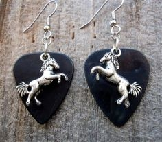 Black Guitar Pick and Silver Horse Charm Earrings by SimplyRaevyn, $5.00