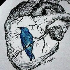 Charles Bukowski, Blue Bird Art, Dibujos Tumblr A Color, Heart Art, Tattoo Drawings, Tattoos, Ink Art, Beautiful Birds, Manga Art