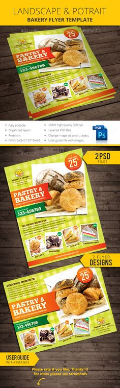 Bakery Flyer Template — Photoshop PSD #candy shop flyer #pie • Available here → https://graphicriver.net/item/bakery-flyer-template/11165905?ref=pxcr