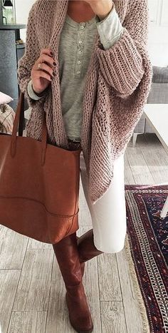 Camel cardigan + grey T-shirt + white skinny jeans + brown boots & tote