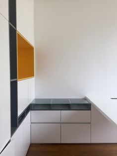 carpentry details. Millwork . Push latch doors. White satin carpentry. Contemporary carpentry . Pops of color . Designed by DKORistas from DKOR interiors. Yellow carpentry. Kids bedroom design . Contemporary interior design