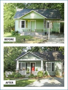 A new porch and front door, plus landscaping and fresh paint revived this once dreary Cape.