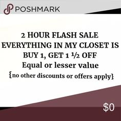 Flash sale!!! 2 hours only!!! No other discounts or offers will apply to this deal. Message me on what two items you want so I can apply the discount Other