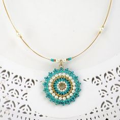 Turquoise pendant necklace Turquoise and gold necklace Seed