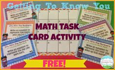 Back to School Math Freebie! Get to know your students with this fun equation building version of Math About Me! FREE!