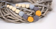 Nursing necklace, Organic Breastfeeding necklace, Gray Yellow crochet jewelry, Mothers Day gift on Etsy, $19.00