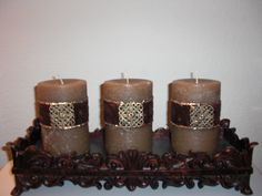 Decorative Candles with ribbon and embellishment