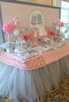 Twin girls pink and grey baby shower dessert table