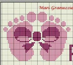 Free Cross Stitch Charts, Simple Cross Stitch, Cross Stitch Baby, Cross Stitch Designs, Cross Stitch Patterns, Cross Stitch Boards, Baby Footprints, Square Patterns, C2c