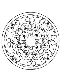 Free Printable Mandala Coloring Pages | Free mandala coloring page with bears. Printable page with mandala ...