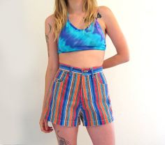 Late 80s Early 90s Striped Denim HOT Shorts size 7/8 by ACTUALTEEN, $32.00