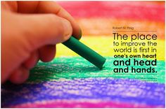 The place to improve the world is first in one's own heart and head and hands. - Robert M. Pirsig