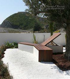 Banco en Madera de Ipe y cemento diseño Muxacra Arquitectos, carpintería NavarrOlivier