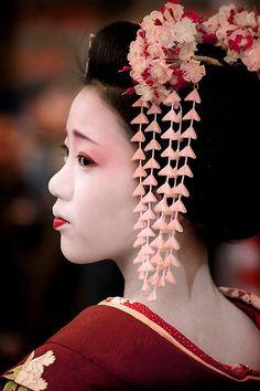 Young Maiko at tea ceremony, Kyoto, Japan.
