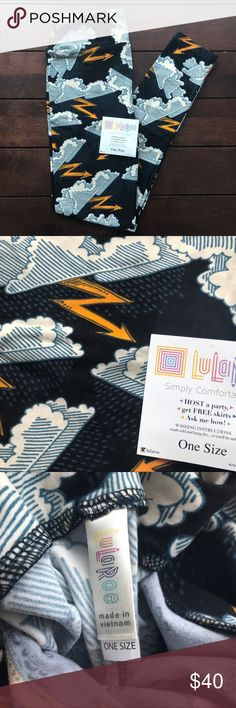 LulaRoe OS Thunderstorm Black Background Leggings d e s c r i p t i o n  Gorgeous OS LuLaRoe leggings with a fun thunderstorm print with rain clouds and lightning on a black background!   I am not a LuLaRoe consultant, just always on the hunt for great prints! All of my LulaRoe is brand new. However, not all leggings will come with a LulaRoe tag because I may not received the leggings from my consultant with a tag. Please know that they are still brand new even if they don't arrive with the…