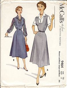 Vintage McCall's 1953 Blouse & Jumper Sewing Pattern by LuckyZelda (Craft Supplies & Tools, Patterns & Tutorials, Sewing & Needlecraft, commercial, castteam, cccoe, cccoeteam, luckyzelda, sheath, dress, jumper, blouse, McCalls, McCall's, 1950s, Vintage 1950s)
