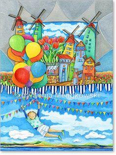 """Aquarell Zeichnung """"Windmühlen Land"""" bunte Luftballons, ein Luftballonstrauß und der Traum vom Fliegen. - Serie: Bilder für's Kinderzimmer"""