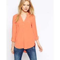 Esprit Collarless Blouse (€20) ❤ liked on Polyvore featuring tops, blouses, vintage peach, peach top, red v neck top, v-neck tops, v neck blouse and woven top