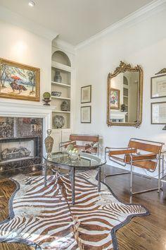 Gold Mirror - Zebra Rug - California - Art Lover's Dream Home