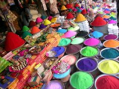 The Holi palette. Powdered paints for Holi - Hindu Festival of Colour.