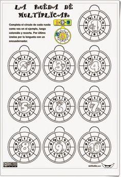 """""""La rueda de multiplicar"""", de actiludis.com, es un ingenioso material para completar, colorear, recortar y componer sobre las tablas de multiplicar."""