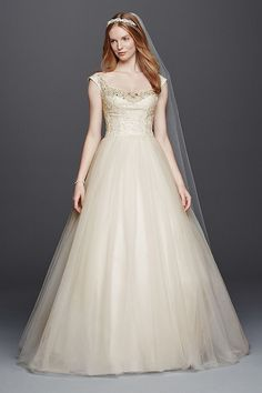 d2962c0f3442a Oleg Cassini Off the Shoulder Tulle Wedding Dress at David's Bridal. Too  bad they didn't have this dress when I got married 2 years ago