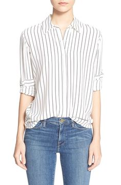 Frame Denim 'Le Classic' Pleat Silk Shirt available at #Nordstrom