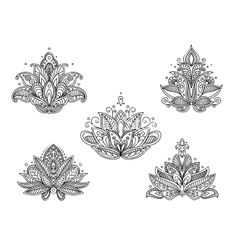 Set of persian paisley flowers vector 2379475 - by Seamartini on VectorStock®