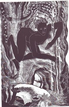 """Lettice Sandford """"Leander under water"""" was cut for """"hero Leander"""" published by The Golden Hours Press in This wood engraving was printed from the original block by Simon Lawrence at his Fleece Press. Linocut Prints, Art Prints, Block Prints, Gravure Photo, Linoprint, Wood Engraving, Woodblock Print, Art And Illustration, Botanical Illustration"""