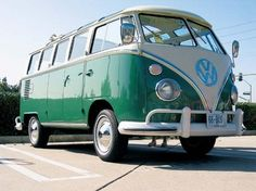 1967 VW Type 2 (T1) sunroof deluxe 21 window Microbus (Samba bus) in velvet green, or 1964 sunroof deluxe 21 window in turquoise, my dream car!