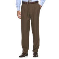 Men's Croft & Barrow® True Comfort Classic-Fit Opticool Dress Pants, Med Brown