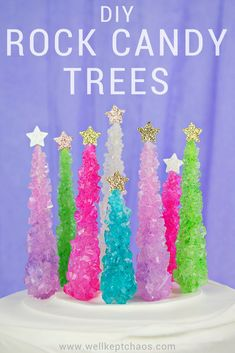 Everyone's favorite party candy has a whole new look. Lucky for you, this tutorial is as gorgeous as it is easy. Click to see the full tutorial for these rock candy Christmas trees. Christmas Tree Cake, Christmas Candy, Christmas Desserts, Christmas Treats, Christmas Baking, Christmas Cookies, Christmas Games, Christmas Traditions, White Christmas