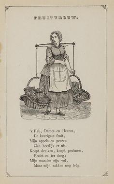Fruitvrouw. Uit: Prentenboek: een ijverige hand vindt werk, 1850. Aanvraagnummer: 851998240