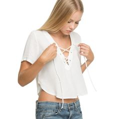 Girls lace up white chiffon blouse :collections.ml/...