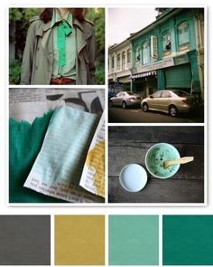 aqua green, grey, and a mustardy yellow. major color crush. via Creature Comforts... I have a thing for mustard yellow and teals lately