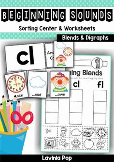 Beginning Blends and Digraphs Word Work. Includes center activity and worksheets.