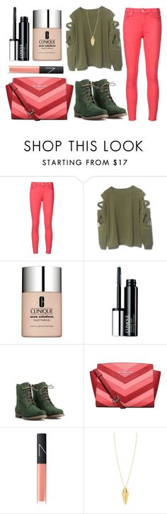 """""""Green and Coral"""" by karen112200 ❤ liked on Polyvore featuring 7 For All Mankind, Clinique, JJ Footwear, MICHAEL Michael Kors, NARS Cosmetics and Rebecca Minkoff"""
