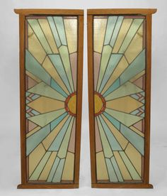 Pair of French Art Deco Stained Glass Doors | From a unique collection of antique and modern doors and gates at https://www.1stdibs.com/furniture/building-garden/doors-gates/