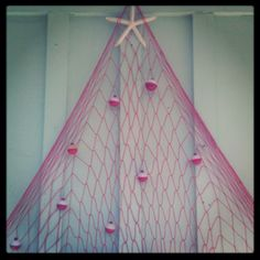 Coastal Christmas Tree w/ fishing net, star fish and bobbers :)