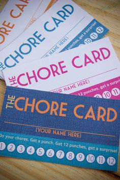 "Chore ""Rewards"" Cards...do a chore, get a punch. Get 12 punches, get a surprise. Very cool incentive idea for home!"